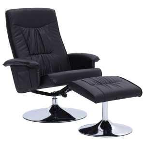 Atlošiamas krėslas su pakoja, juodos spalvos, dirbtinė oda