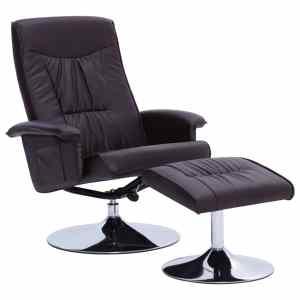 Atlošiamas krėslas su pakoja, rudos spalvos, dirbtinė oda