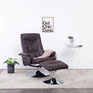 vidaXL Atlošiamas krėslas su pakoja, rudos spalvos, dirbtinė oda