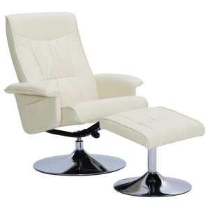 Atlošiamas krėslas su pakoja, kreminės spalvos, dirbtinė oda