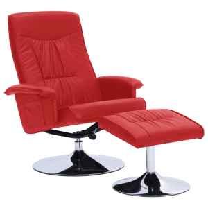 Atlošiamas krėslas su pakoja, raudonos spalvos, dirbtinė oda
