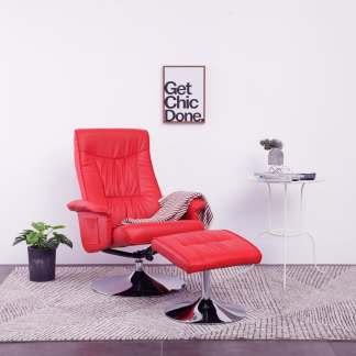 vidaXL Atlošiamas krėslas su pakoja, raudonos spalvos, dirbtinė oda