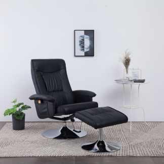 vidaXL Atlošiamas masažinis krėslas su pakoja, juodos sp., dirbt. oda