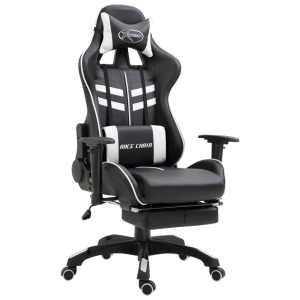 vidaXL Žaidimų kėdė su atrama kojoms, balta, poliuretano putos
