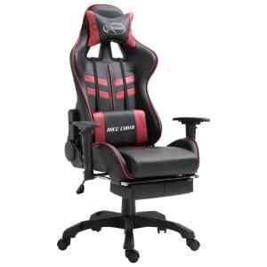 vidaXL Žaidimų kėdė su atrama kojoms, raud. vyno sp., poliuret. putos
