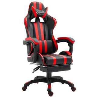 vidaXL Žaidimų kėdė su atrama kojoms, raudona, poliuretano putos