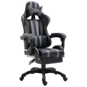 vidaXL Žaidimų kėdė su atrama kojoms, pilka, poliuretano putos