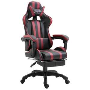 vidaXL Žaidimų kėdė su atrama kojoms, raud. vyno sp., dirbt. oda