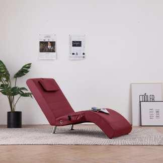 vidaXL Masažo gultas su pagalve, raudonojo vyno spalvos, dirbtinė oda