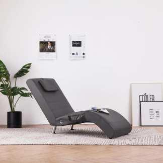 vidaXL Masažinis gultas su pagalve, pilkas, dirbtinė oda