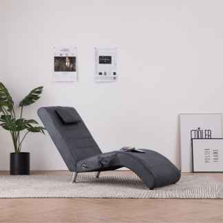 vidaXL Masažinis gultas su pagalve, pilkas, dirbtinė versta oda