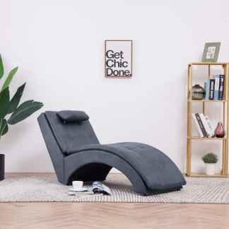 vidaXL Poilsio gultas su pagalve, pilkos spalvos, dirbtinė versta oda