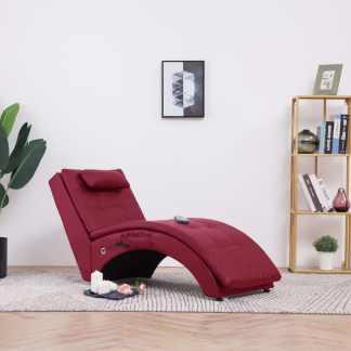 vidaXL Masažo gultas su pagalve, raudono vyno spalvos, dirbtinė oda