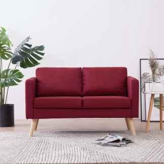 vidaXL Dvivietė sofa, vyno raudonos spalvos, audinys