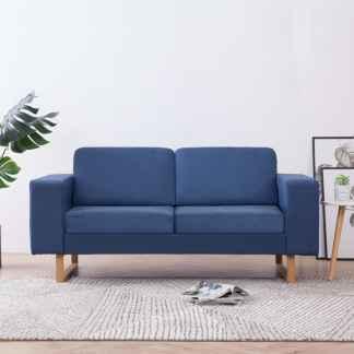 vidaXL Dvivietė sofa, mėlyna, audinys
