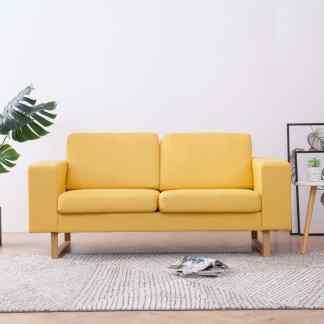 vidaXL Dvivietė sofa, geltona, audinys