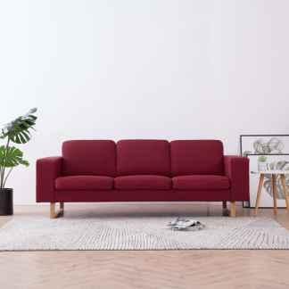 vidaXL Trivietė sofa, vyno raudonos spalvos, audinys