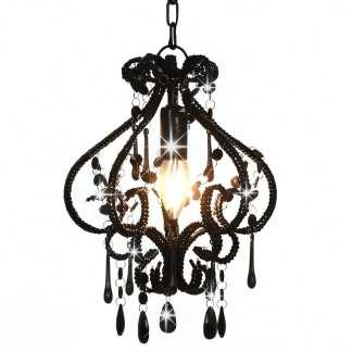 vidaXL Lubinis šviestuvas su karol., juodos sp., apvalus, E14 lemp.