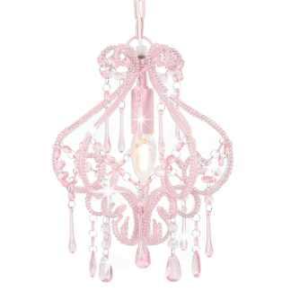 vidaXL Lubinis šviestuvas su karol., rožinės sp., apvalus, E14 lemp.