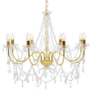 vidaXL Sietynas su karoliukais, auksinės spalvos, 8 x E14 lemputės