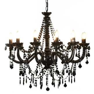 vidaXL Sietynas su karoliukais, juodos spalvos, 12 x E14 lemputės