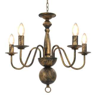 vidaXL Sietynas, juodos spalvos, 5 x E14 lemputės, senovinio stiliaus