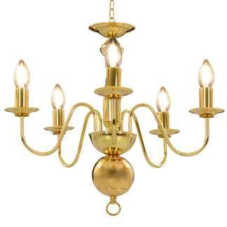 vidaXL Sietynas, auksinės spalvos, 5 x E14 lemputės