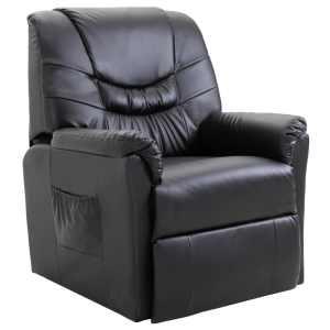 vidaXL Atlošiamas krėslas, juodos spalvos, dirbtinė oda