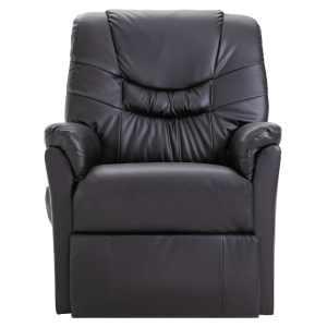 Atlošiamas krėslas, juodos spalvos, dirbtinė oda