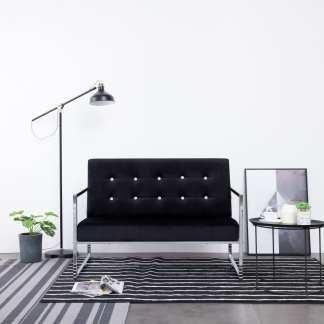 vidaXL Dvivietė sofa su porankiais, juodos sp., chromas ir aksomas