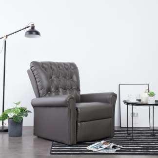 vidaXL Atlošiamas krėslas, pilkos spalvos, dirbtinė oda