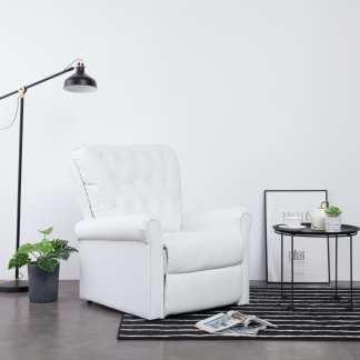 vidaXL Atlošiamas krėslas, baltos spalvos, dirbtinė oda