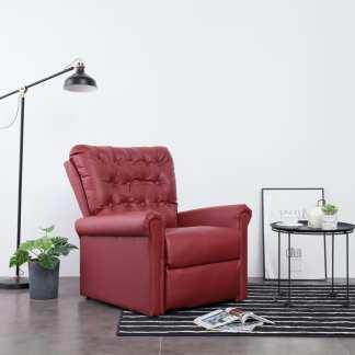 vidaXL Atlošiamas krėslas, raudono vyno spalvos, dirbtinė oda