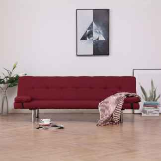vidaXL Sofa-lova su dviem pagalvėm, raud. vyno spalvos, poliesteris