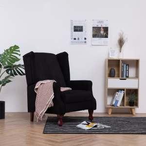 vidaXL Atlošiamas krėslas, juodos sp., audinys