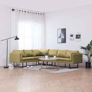 vidaXL Kampinė sofa, žalios spalvos, audinys