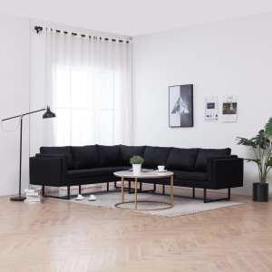 vidaXL Kampinė sofa, juodos spalvos, audinys