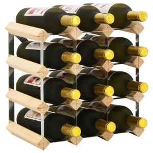 vidaXL Stovas vynui skirtas 12 butelių, pušies medienos masyvas