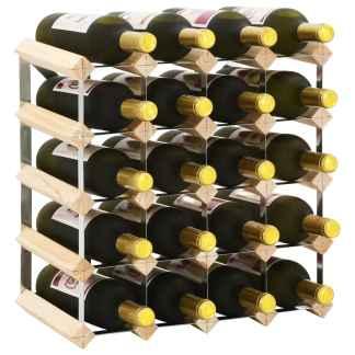 vidaXL Stovas vynui skirtas 20 butelių, pušies medienos masyvas
