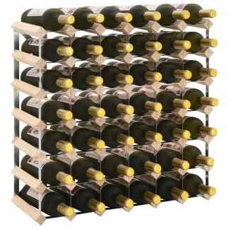vidaXL Stovas vynui skirtas 42 buteliams, pušies medienos masyvas