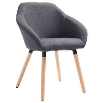 vidaXL Valgomojo kėdė, tamsiai pilkos spalvos, audinys