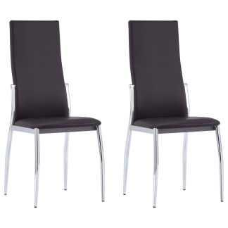 vidaXL Valgomojo kėdės, 2 vnt., rudos spalvos, dirbtinė oda