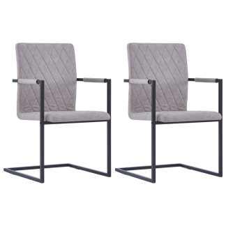 vidaXL Valg. kėdės, 2 vnt., švies. pilk. sp., dirbt. oda, gembinės