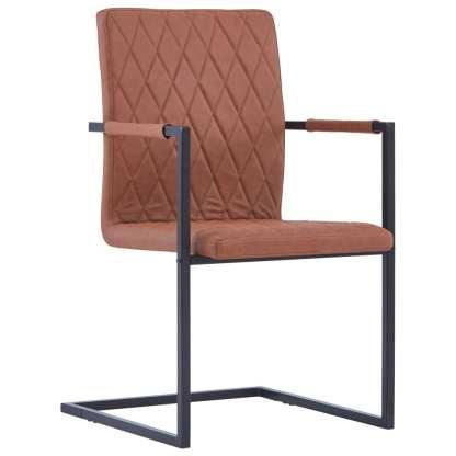 Valgomojo kėdės, 2 vnt., rudos sp., dirbtinė oda, gembinės