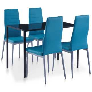vidaXL Valgomojo baldų rinkinys, mėlynos spalvos, penkių dalių
