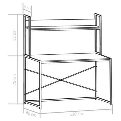 Kompiuterio stalas, baltas, 120x60x138cm