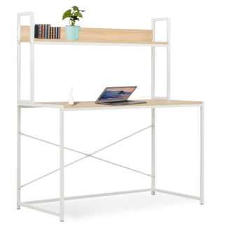 vidaXL Kompiuterio stalas, baltos ir ąžuolo spalvos, 120x60x138cm