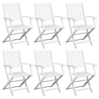 vidaXL Valgomojo kėdės, 6vnt., baltos, akacijos med. masyvas
