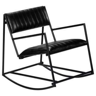 vidaXL Supamas krėslas, juodos sp., tikra oda