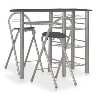vidaXL Baro baldų kompl. su lent., 3 d., juodos sp., med. ir plienas
